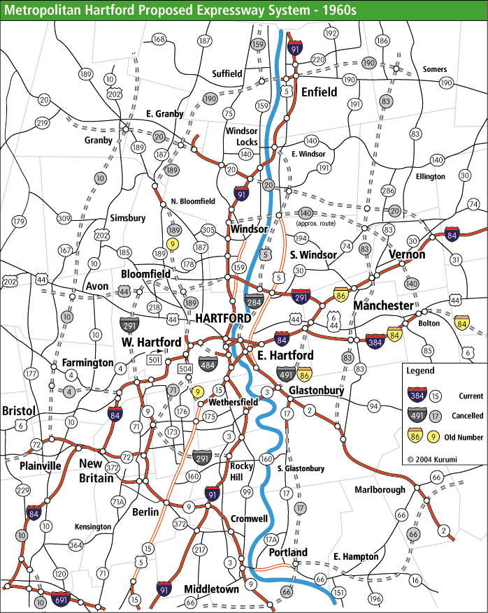 Metro Hartford Proposed Freeways 1960s