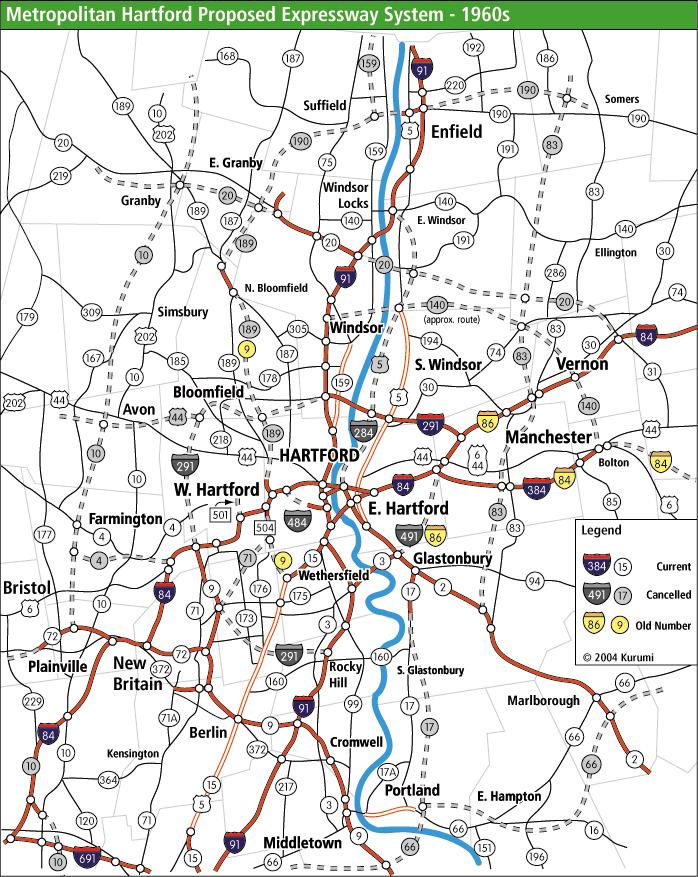 Metro Hartford Proposed Freeways (1960s)